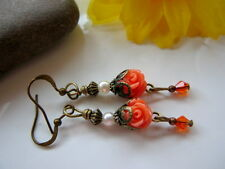 ROSE Earrings ~Small MAN MADE CORAL Flowers BABY ROSE ORANGE tiny Vintage style