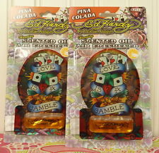 2 ED HARDY By Christian Audigier HANGING SCENTED OIL AIR FRESHENER - PINA COLADA