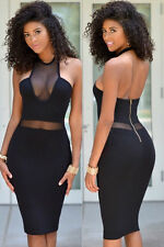 Mini Abito cono aperto nudo trasparente aderente Mesh Cut-out Bodycon Midi Dress