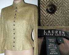 NWT RALPH LAUREN Silk & Linen Herringbone Jacket Sz 4 Mandarin Collar OLIVE