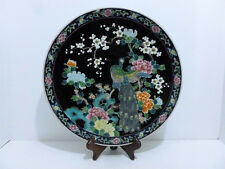 """PLATE VINTAGE JAPANESE PORCELAIN FAMILLE ROSE PLATE 12 1/4"""" W/ WOOD STAND.5617"""