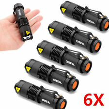 6PC Mini CREE LED Flashlight Torch 7W 4000LM Adjustable Focus Zoom Light Lamp US
