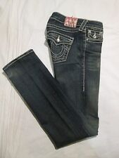 (*-*) TRUE RELIGION * Womens DISCO BILLY BIG T Straight Leg Blue Jeans * Size 24