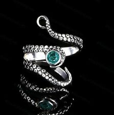 OCTOPUS TENTACLE RING ADJUSTABLE STAINLESS STEEL SILVER STEAMPUNK AQUA BLUE GEM