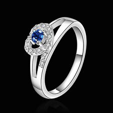 925 Sterling Silver Blue Zirconia Heart Band Ring Size 8 B85
