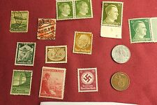 "WW2 German Third Reich ""Hitler Stamps"" & Nazi Eagle Coins..(lot A8)"