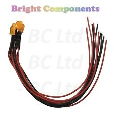 5 x Pre-Wired Orange LED 5mm Diffused : 9V ~ 12V : 1st CLASS POST