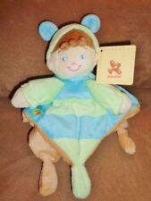 Butterfly Blue Tan Belgium Nicotoy Baby Security Blanket Plush Rattle Lovey Doll
