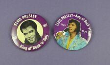 Elvis Presley Pair of Unused 1977 Large Tin Badges