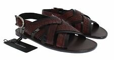 NWT $1300 DOLCE & GABBANA Red Black Crocodile Leather Sandal Shoes EU43 / US10