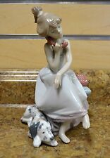 "*LLadro 5466 Chit Chat 7.75"" Tall Porcelain Figure (Girl on Phone w/ Dog)"