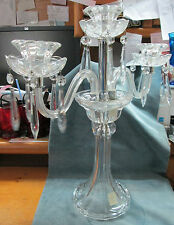 Elegant Cut & Polished Crystal Chandelier Type Three Candle Glass Candelabra