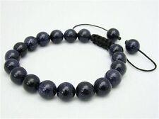 Men's Shambhala bracelet all 10mm BLUE GOLDSTONE stone beads