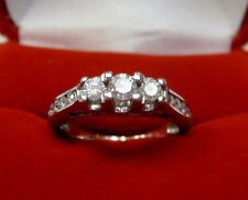 1/2 CTW Natural Real Diamond Three Stone Engagement Ring 14k White Gold Sz 5