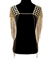 LUXE Celeb  Statement Gold Full Shoulder Necklace Body Chain - By Rocks Boutique