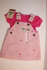 OshKosh B'gosh Girls 3 Months Pink Denim Floral Overall 2 piece Dress Set NWT