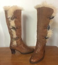 BORN Shearling Lined Brown Leather Boots - Knee High - Women's Size 6