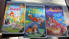 Lot of 3 Disney VHS movies - Aladdin, Fox and the Hound, and Bambi