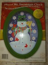 Brand New in Box Snowman Wall clock Green border Xmas winter