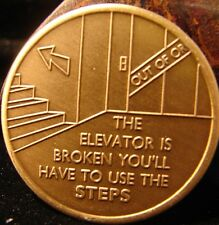 Bronze Alcoholics Anonymous AA 12 Steps elevator Medallion Narcotics Token NA *1