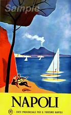VINTAGE NAPOLI ITALY TRAVEL A4 POSTER PRINT