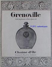 PUBLICITE PARFUM GRENOVILLE CHAINE D'OR FLACON DE 1926 FRENCH AD PERFUME PUB
