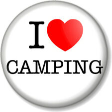 "I Love / Heart CAMPING 1"" 25mm Pin Button Badge Novelty Gift Tent Outdoors Scout"