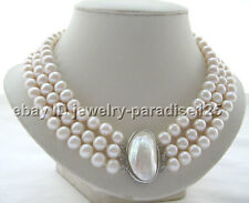 "Charming 17-19"" 3row 10mm natural white round freshwater pearl necklace"