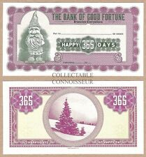 The Bank Of Good Fortune UNC Christmas XMAS Cheque / Money Order - Tree Elf