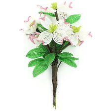 VINTAGE French Beaded Flower Bunch 6 Dogwood Buds Pink White Green Single Stem