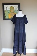 NWT J Crew Embroidered Short Sleeve Maxi Dress Beach Cover Up XL Navy C5763