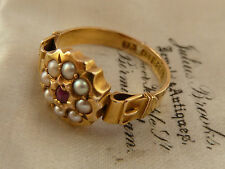 ANTIQUE VICTORIAN 15CT GOLD BUCKLE RING PEARL & RUBIES HMK LONDON 1875 UK K 1/2