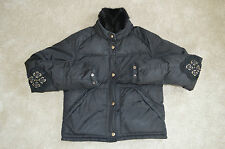 Prada Black Mink Fur Collar Down Zip Bomber Jacket Coat Womens Size 40 / UK 6-8