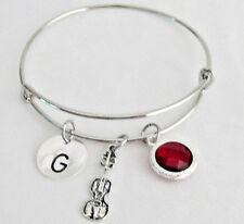 Violin Bangle Bracelet, Violin Charm Expandable Bangle Personalized Bracelet