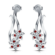 White Platinum Plated In Alloy Gorgeous Two Flower Stud Earring Red  Round CZ