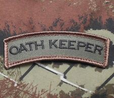 OATH KEEPER TAB ROCKER TACTICAL ARMY MORALE MILITARY BADGE FOREST VELCRO PATCH
