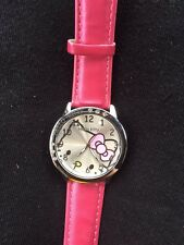Kids Girls Hello Kitty Dark Pink Wrist Watch Analog Leather Strap Steel Back