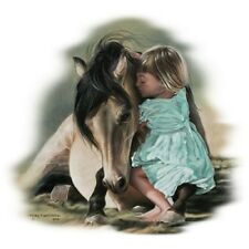 """HORSE WITH LITTLE GIRL Fabric """"Childhood Magic"""" -ONE 18 X 22 inch Fat Quarter."""