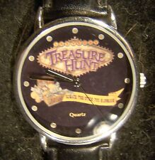 Nice Collectible Treasure Hunt Black Face Black Band Silver Tone Watch