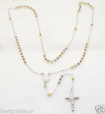 "24"" 4mm Diamond Cut Rosary Rosario Chain Necklace Real TriColor Sterling Silver"
