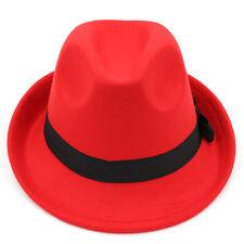 Men Women Kids Children Boys Solid Felt Fedora Hat Trilby Cap Jazz Two Sizes