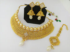 DISHI Fashion Bridal Necklace Tikka Traditional Ethnic Gold Plated Jewellery Set