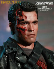 In Stock! Hot Toys 1/6 DX13 Terminator T2 T-800 Sideshow Battle Damaged Normal