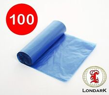 100 Flat Top Bin Liners Refuse Waste Sack bag (Large: 70cm x 90cm) Blue