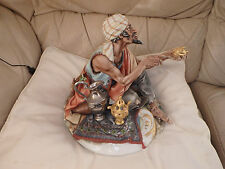 "Very Large Capodimonte Of Peddler seller Genie Lamp  10"" High VGC HTF RARE"
