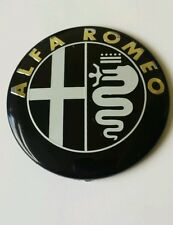 Set of 2 ALFA ROMEO Car Black Front Bonnet/Boot Badge/Emblem 74mm