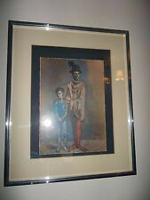 Two Harlequins by Pablo Picasso Silver Blue Framed Matted Art Print