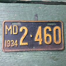 1934 Maryland MD Motorcycle License TAG