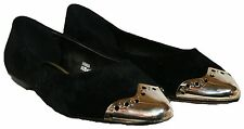 LADIES BLACK E FITTING FAUX SUEDE SLIP ON SHOE WITH GOLD TIP IN SIZE 7