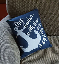 DROP ANCHOR WITH THE ONE YOU LOVE Nautical Beach Home Throw Pillow Decor NEW